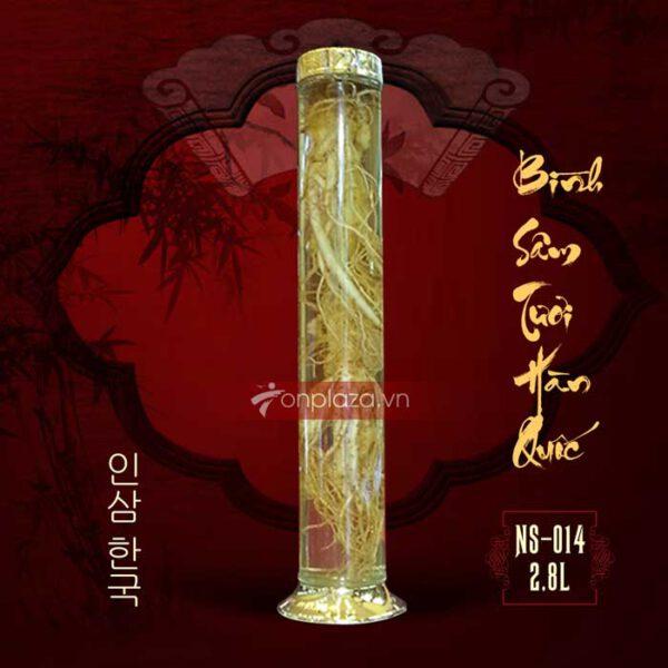 Bình sâm ngâm nguyên củ Hàn Quốc loại số 35, loại 2 củ 2.8 lít
