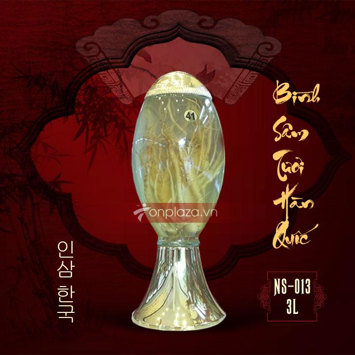 Bình sâm ngâm nguyên củ Hàn Quốc số 41, loại 1 củ 3 lít