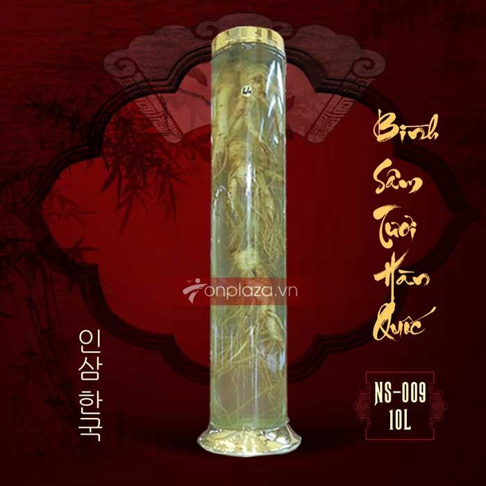 Bình sâm ngâm nguyên củ Hàn Quốc loại 4 củ 10 lít