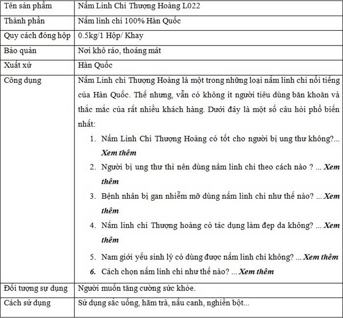 thông tin sản phẩm Nấm Linh Chi Thượng Hoàng L022