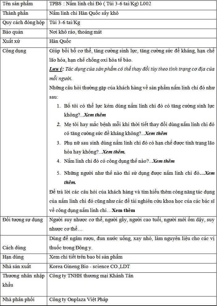thông tin Nấm linh chi tai đỏ 6 năm tuổi Hàn Quốc L002