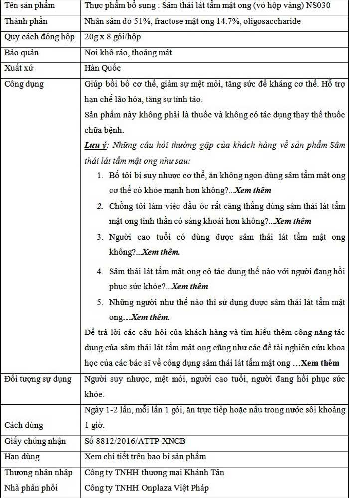 Thông tin sp Hồng Sâm lát tẩm mật ong BIO APGOLD Hàn Quốc NS030