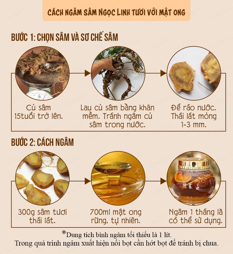 Hướng dẫn cách ngâm sâm Ngọc Linh tươi với mật ong