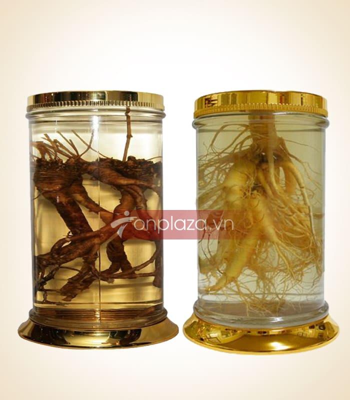 Bình thủy tinh sang trọng với chân và miệng bình viền chất liệu màu vàng.