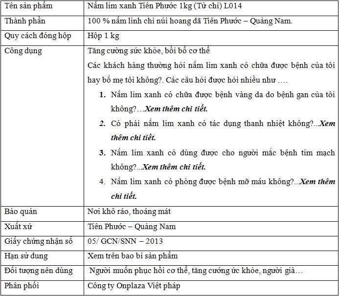 Nấm linh xanh tử chi Tiên Phước L014