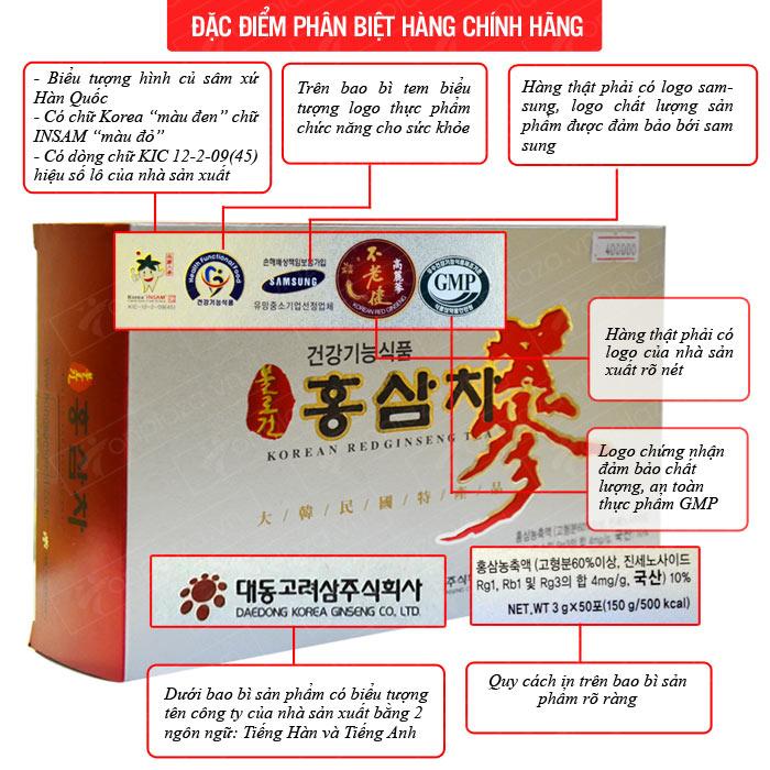 Trà hồng sâm 50 gói  x 3g, 4mg/g – Daedong NS127 3