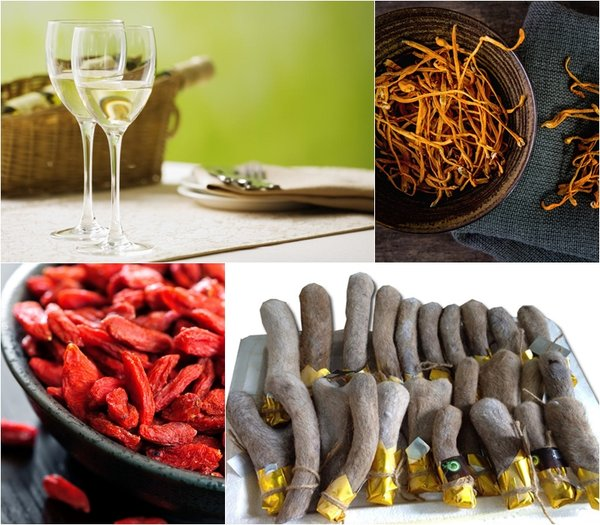 đông trùng có thể kết hợp với rượu, lộc nhung, kỷ tử cho kết quả rất tốt