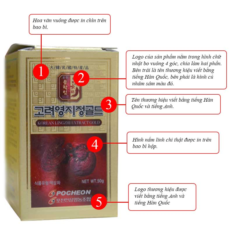 POCHEON Cao linh chi gold 50g x 5 lọ L291 5