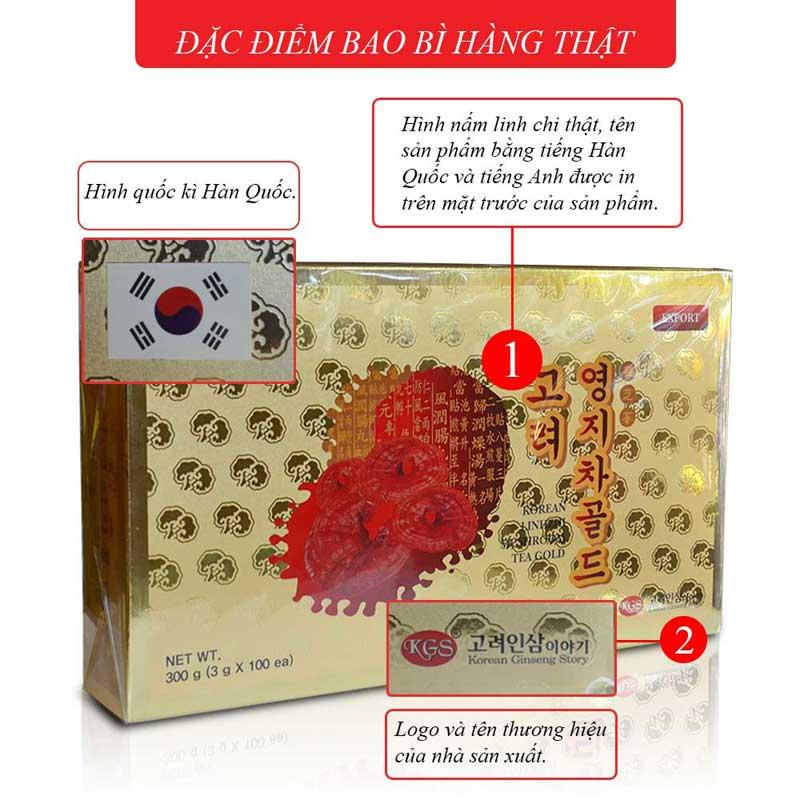 Trà Linh chi KGS hộp giấy 100 gói x 3gr L036 1