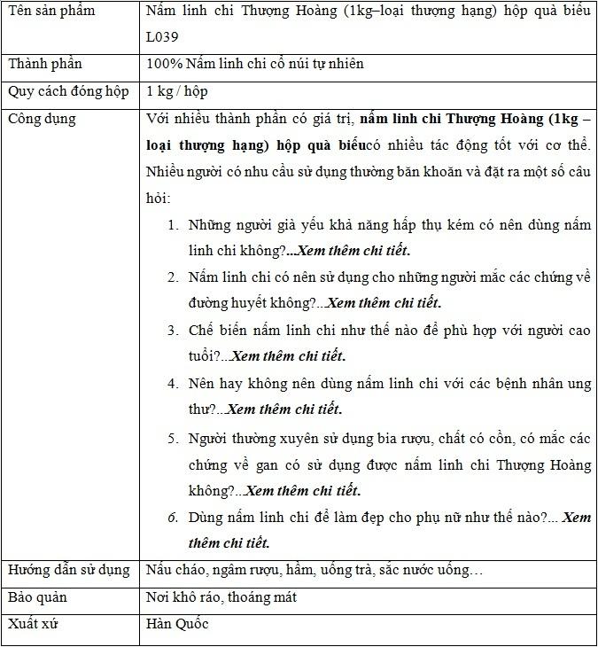 thông tin sp Nấm Linh Chi Thượng Hoàng hộp quà biếu