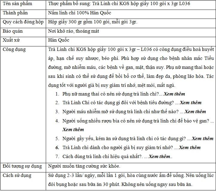 thông tin sản phẩm Trà Linh chi KGS hộp giấy 100 gói L036