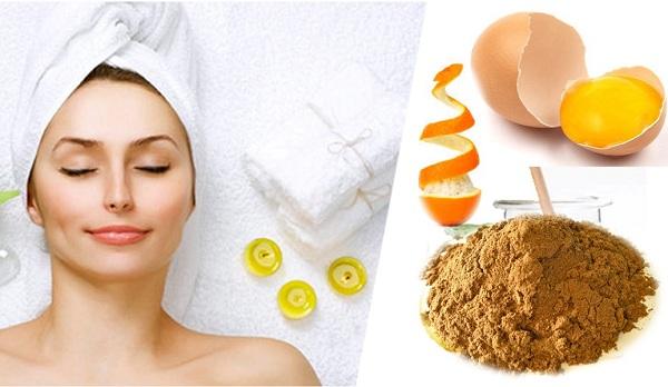 bột nấm linh chi, cam tươi và lòng đỏ trứng gà có tác dụng hạn chế mụn nhọt