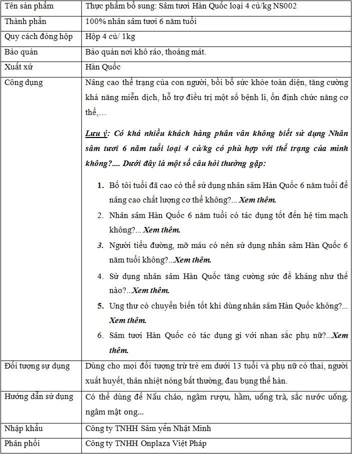 thành phần và công dụng của nhân sâm tươi loại 4 củ Ns002