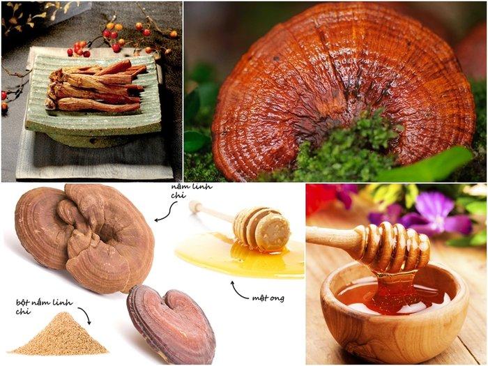 Nấm linh chi có thể kết hợp với mật ong hay nhân sâm rất tốt