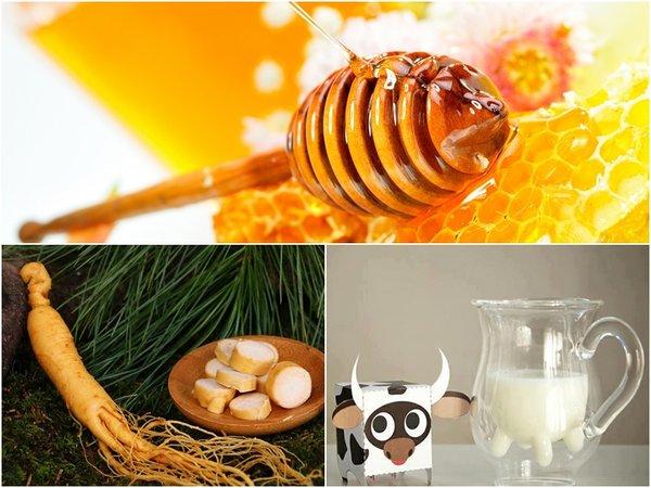 nhân sâm, mật ong, sữa bò tốt cho những người mắc bệnh hô hấp