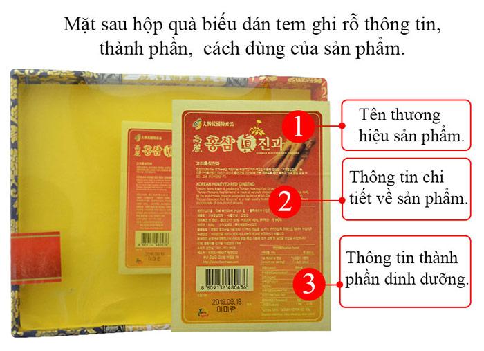 Sâm nguyên củ tẩm mật ong hộp quà 800g (22 củ) NS343 4