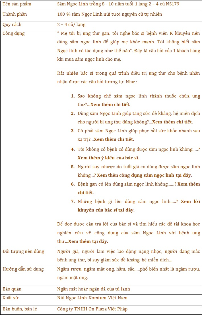 thành phần và công dụng của sâm ngọc linh 8-10 năm tuổi 1 lạng 2-4 củ NS179