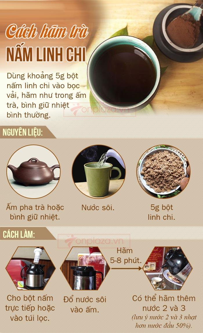 cách hãm trà nấm linh chi