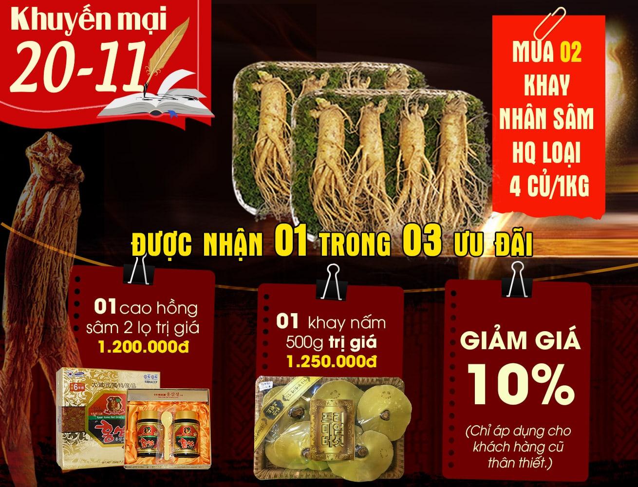 Nhân sâm Hàn Quốc loại 4 củ/kg NS002