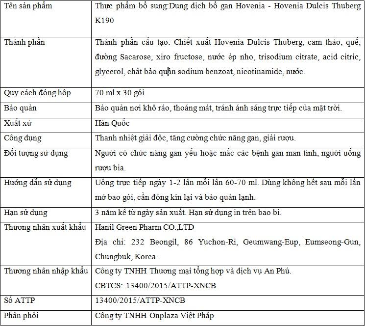 thành phần và công dụng của bước bổ gan hankil K190