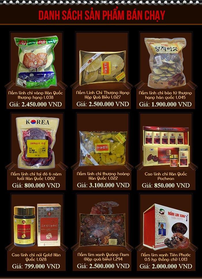 Bảng giá các sản phẩm nấm linh chi bán chạy