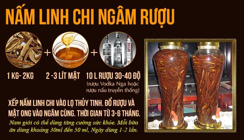 Cách ngâm rượu nấm linh chi