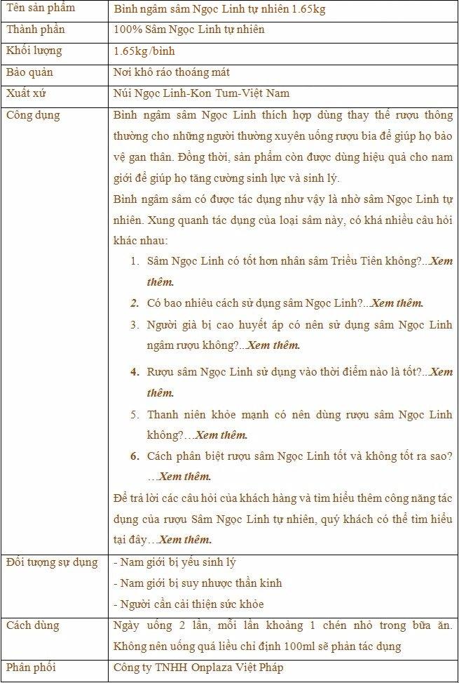 ttsp Bình ngâm sâm Ngọc Linh tươi 70 năm tuổi loại 1,65kg/củ