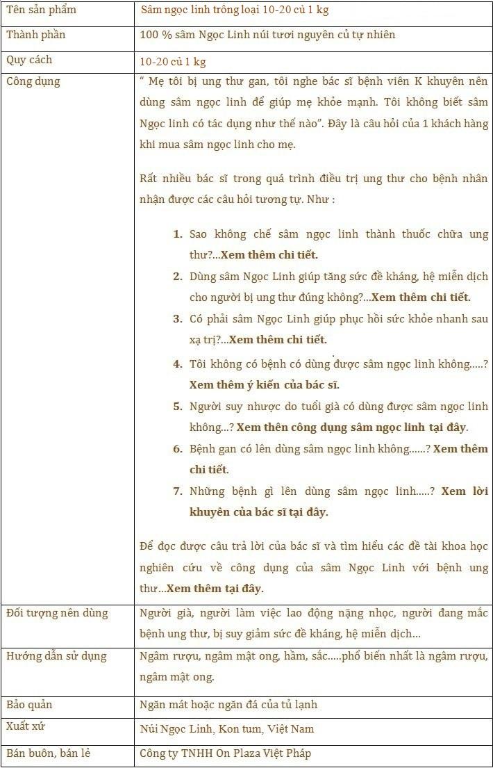 ttsp Sâm Ngọc Linh trồng 10 - 20 củ/1 kg