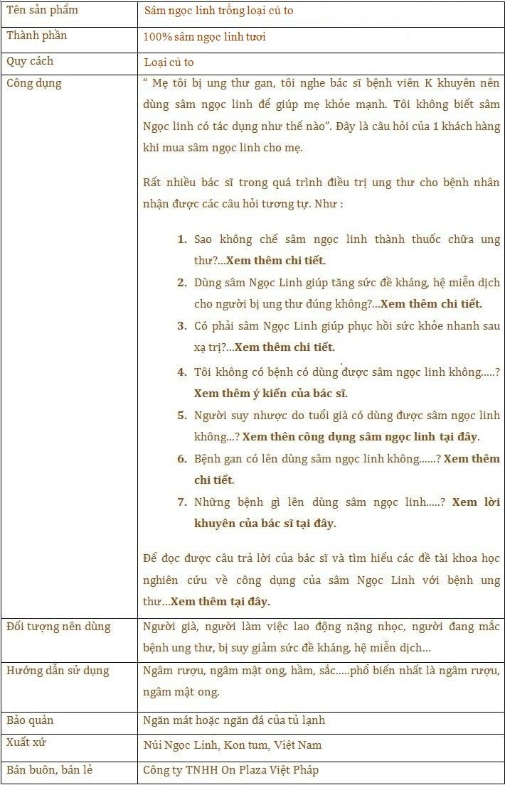 ttsp Sâm Ngọc Linh trồng 30 tuổi củ to loại 1,2 kg/củ