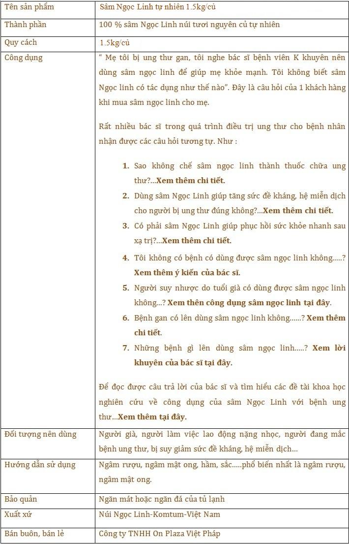 ttsp Sâm Ngọc Linh tươi tự nhiên loại 1,5kg/củ