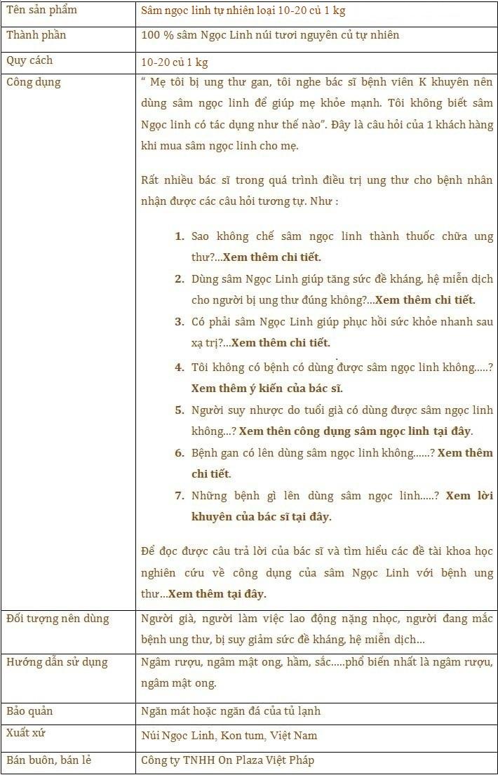ttsp Sâm Ngọc Linh tươi tự nhiên 10 - 20 củ/1kg