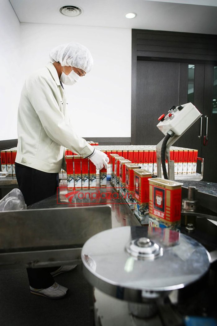 quy trình sản xuất và đống gói sp hồng sâm củ khô cao cấp chính phủ kgc hộp thiếc 6