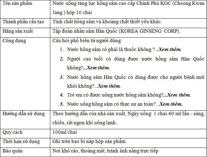 ttsp Nước uống cao cấp tăng lựchồng sâm Chính Phủ KGC (Cheong Kwan Jang ) loại hộp 10 chai NS646