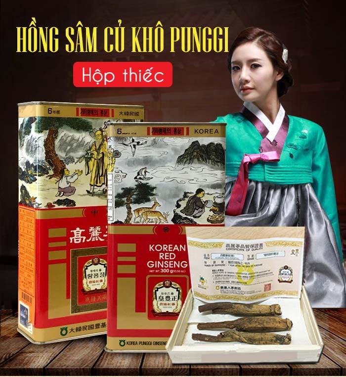 Hồng sâm củ khô Punggi Hàn Quốc hộp thiếc 150g NS613