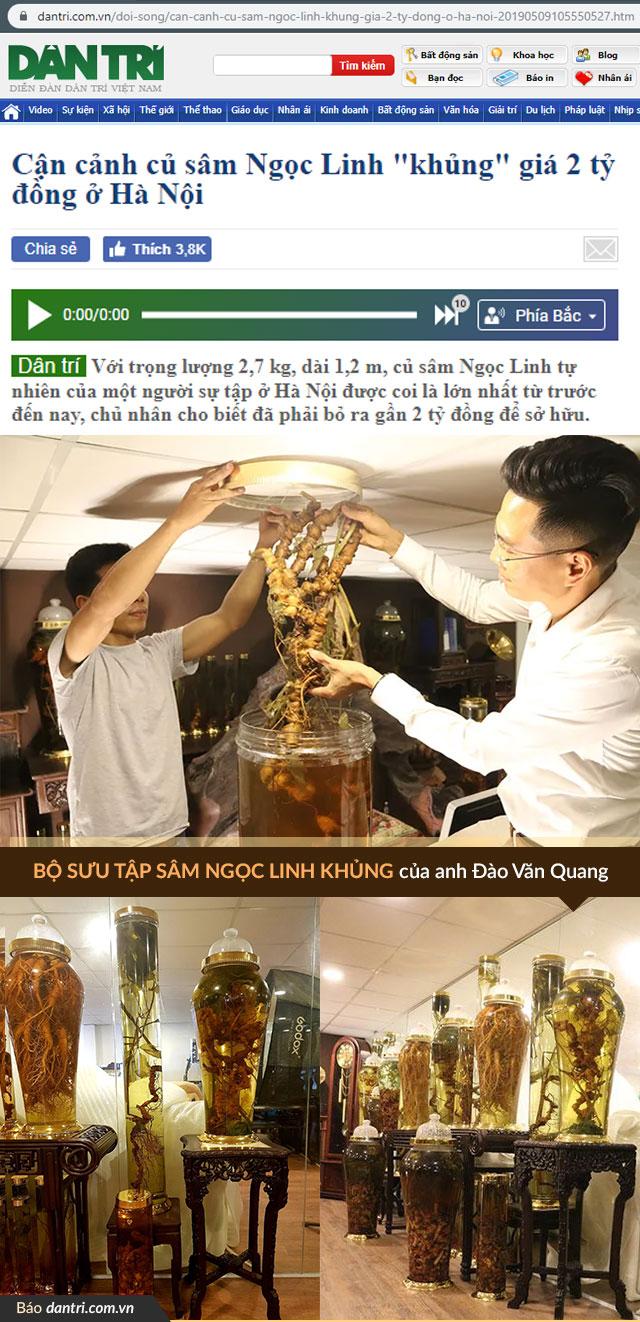 1 góc BST Sâm Ngọc Linh của anh được đăng tải trên báo dantri.com.vn
